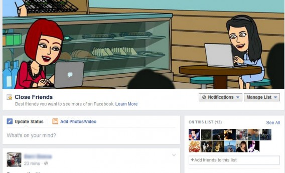Sélection Facebook des amis proches