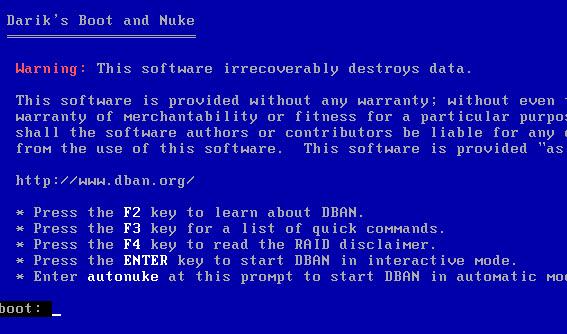 Tela de inicialização do Darik's Boot and Nuke