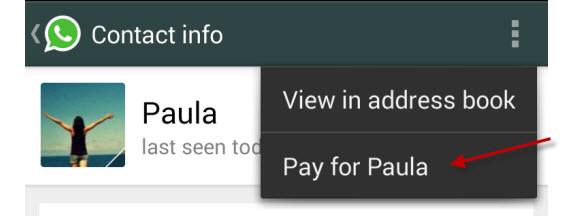 Whatsapp: payer pour un autre