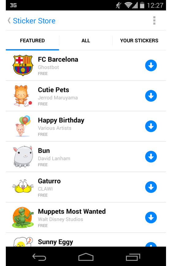 Facebook Messenger, liste de stickers