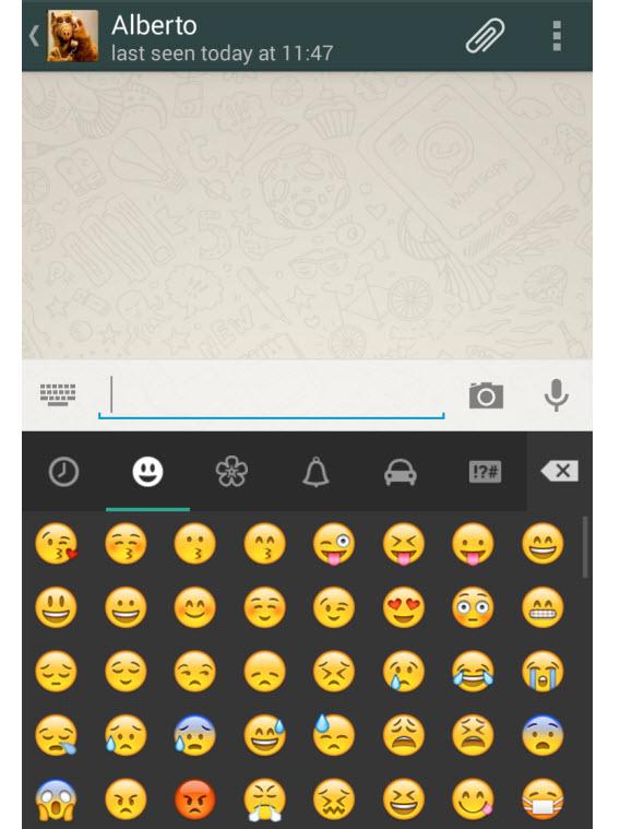 Palette d'émoticônes de Whatsapp