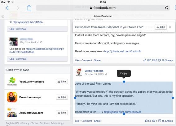 Sélectionner du texte est plus facile dans la version web mobile
