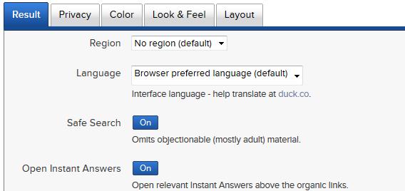 DuckDuckGo permite configurar resultados, idioma, cores e aparência
