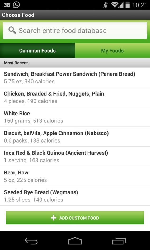 FitBit - Enregistrement des plats consommés