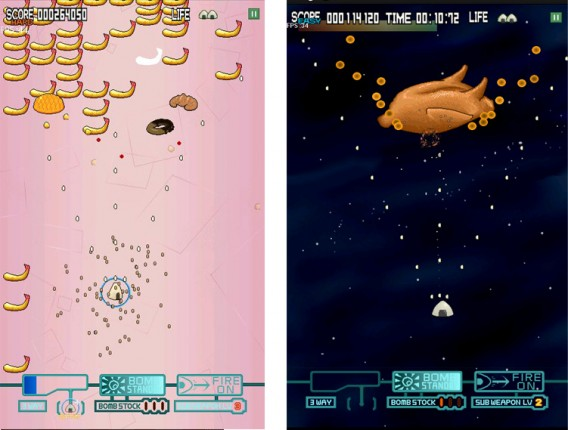 Em Onigiri Shooter, você controla uma nave de... Onigiri