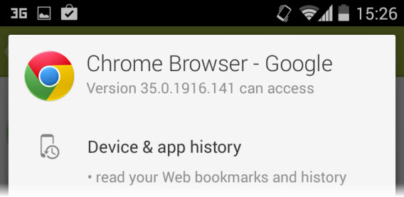Google Chrome pede permissão para acessar seu histórico