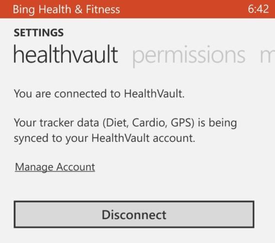 Bing - connexion à HealthVault