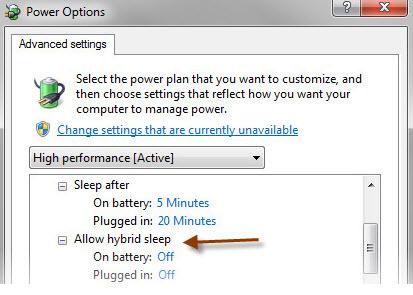 A suspensão híbrida pode ser ativada no Windows 7