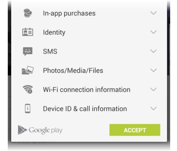 Quadro de permissões requisitadas por aplicativos