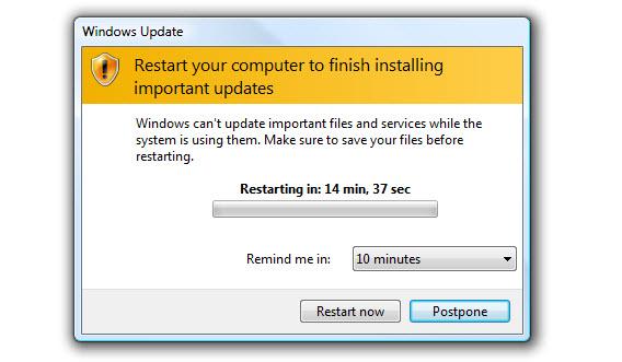 Windows pede para reiniciar o computador após a instalação de atualizações