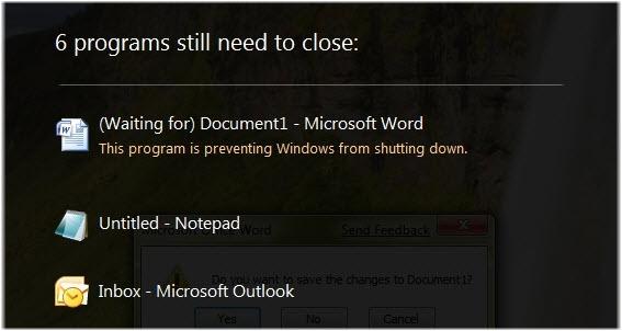 Certains programmes ne se sont pas fermés correctement