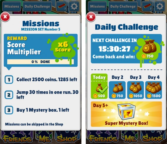 Subway Surfers Missions and challenges
