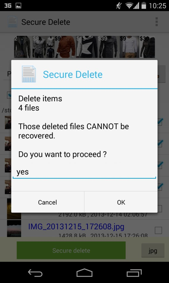 Secure Delete pour Android - confirmation