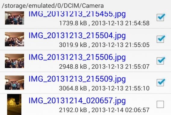 Secure Delete pour Android - Sélectionner les fichiers que vous voulez supprimer