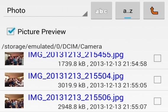 Secure Delete pour Android - prévisualisation des images