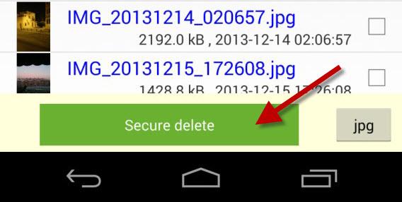 Secure Delete pour Android - Confirmer l'effacement définitif des fichiers