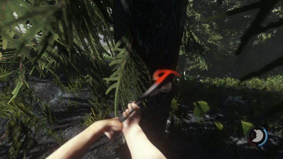 Cortando uma árvore de tronco grosso