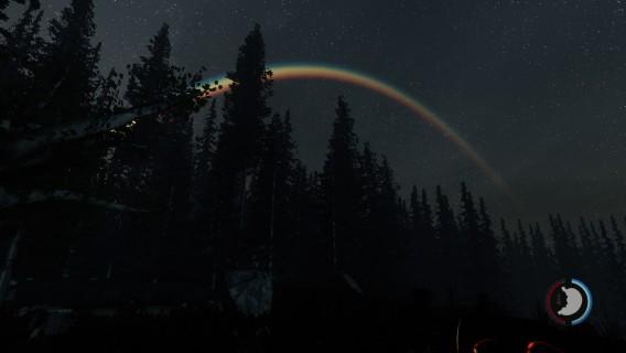 Arco-íris aparece durante a madrugada