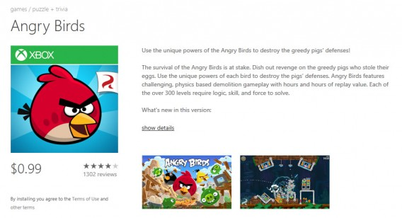 Angry Birds no Windows Phone é pago; No Android, é gratuito