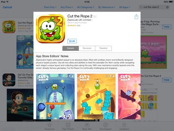 Cut the Rope 2 é um bom exemplo da vantagem da Apple sobre o Google no terreno de exclusividades