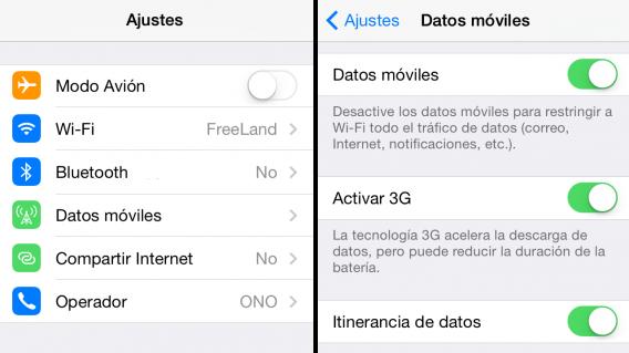 Apagar datos móviles