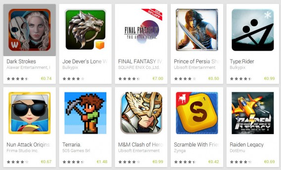 Promos sur Google Play