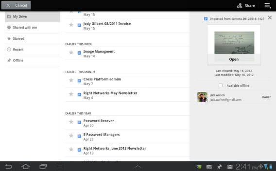 Google Drive for Android (screenshot by TechRepublic)