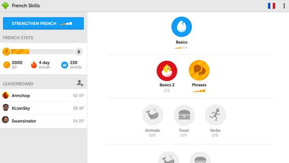 Duolingo pour tablette sous Android