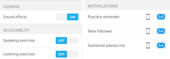 Duolingo paramètres