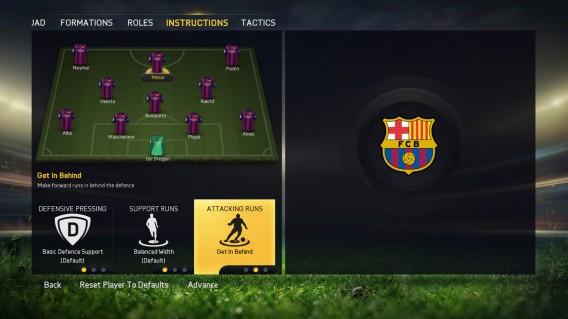 Instruções personalizadas do FIFA 15