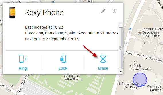 Erase Android from Device Manager