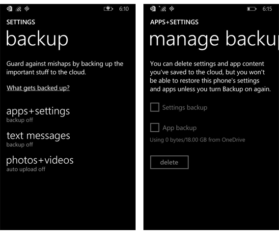 Le système de back-up de windows phone