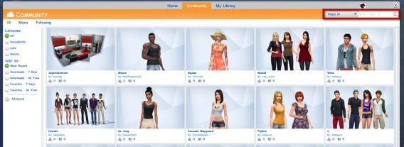 Les Sims 4: Rechercher des personnages dans la galerie