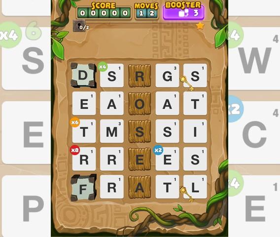Ruzzle Adventure: déplacer les clés en plusieurs mouvements