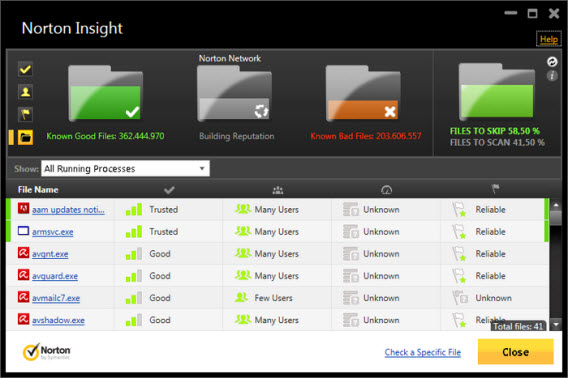 Interface do Norton Insight