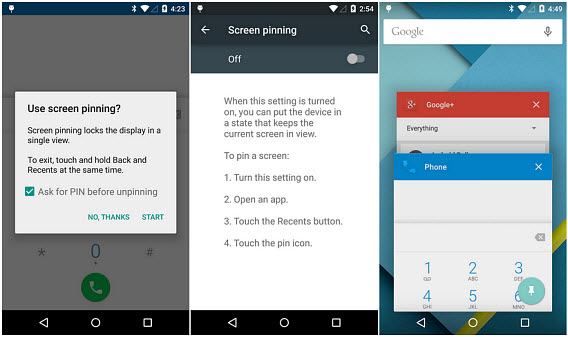 Android Lollipop - Screen pinning