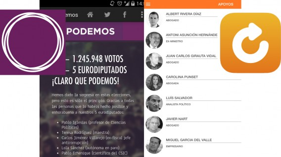 Apps de Podemos y Movimiento Ciudadano