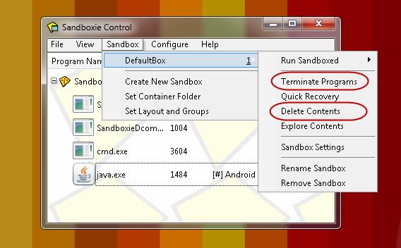 Sandboxie não apenas encerra a execução do programa, como apaga os arquivos gerados por ele