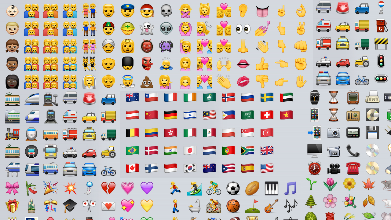 Los emojis nuevos de iOS 8.3: más colores de piel, tipos de pareja, banderas…