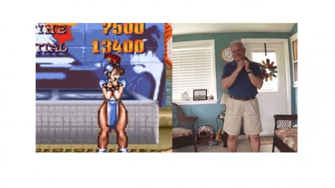 Un papá adorable recrea las poses de victoria de Street Fighter