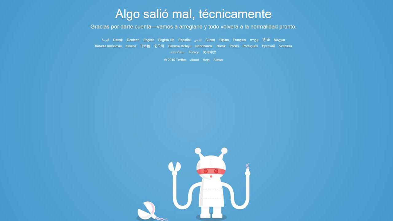 """Twitter no funciona en todo el mundo: """"Algo salió mal, técnicamente"""""""