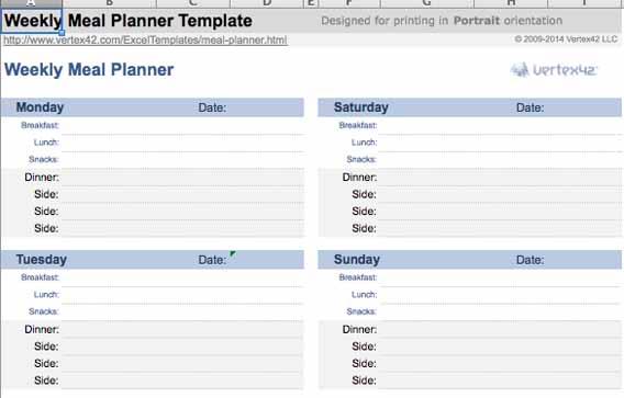 planificacion para las comidas