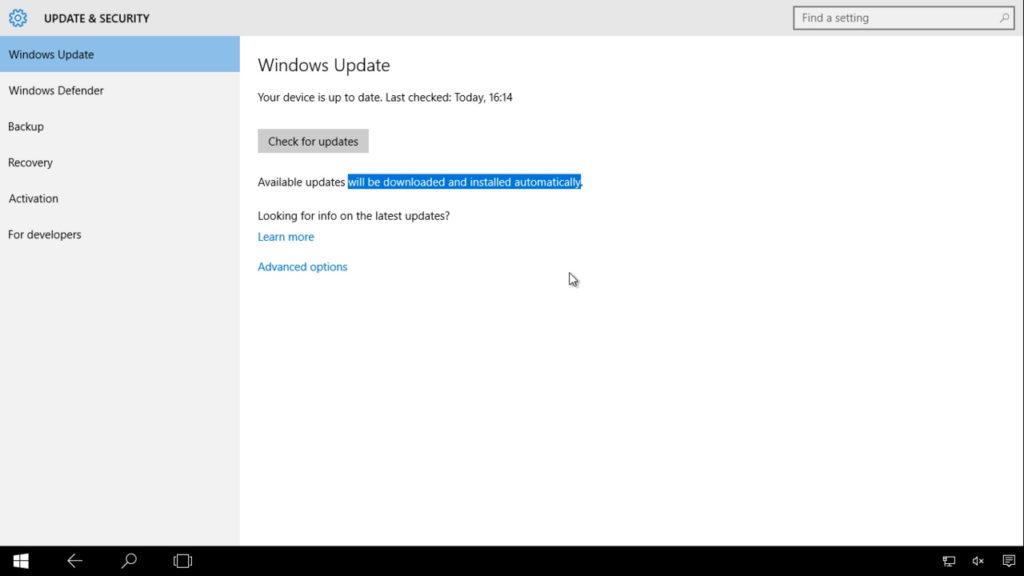 Winodws 10 update