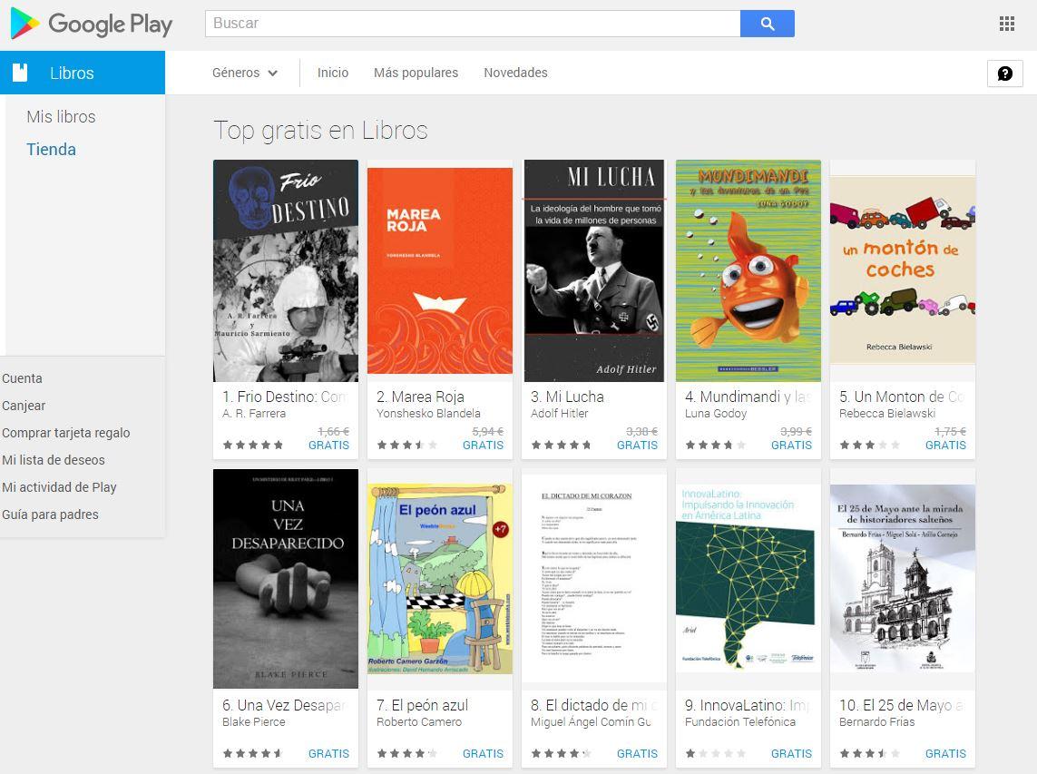 Libros gratis en Google Play Store