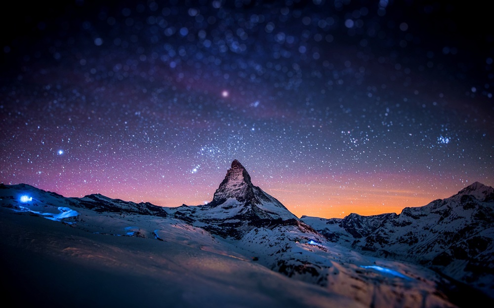 mountain and stars wallpaper