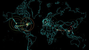 Este mapa muestra los ataques informáticos en todo el mundo y a tiempo real