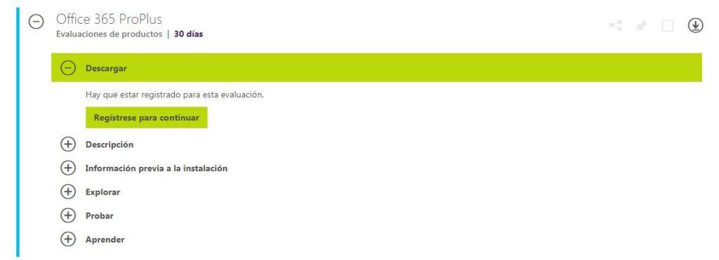 prueba gratis de Microsoft office