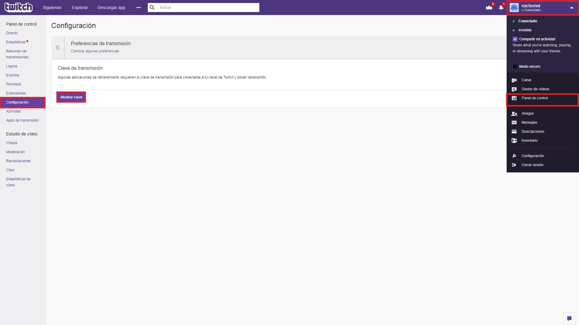 configurar Twitch con OBS