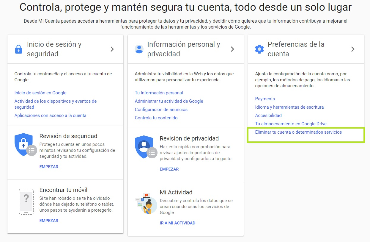 desactivar Google