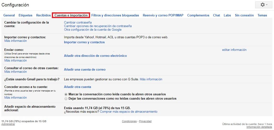 importación de contactos a gmail